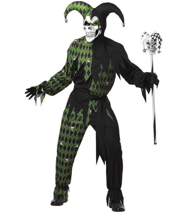 Elak Gycklare Grön Joker Maskeraddräkt Halloween