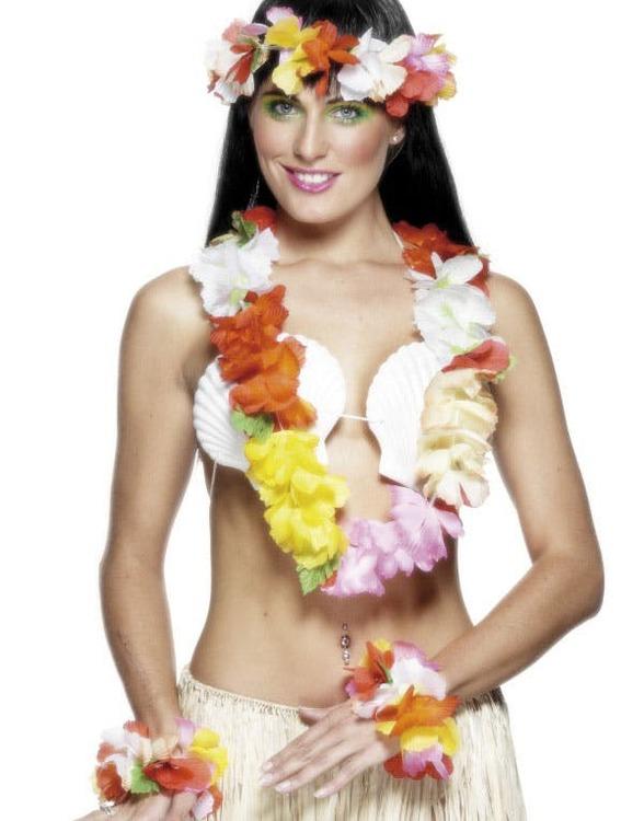 Hawaii set med halsband armband och huvudband