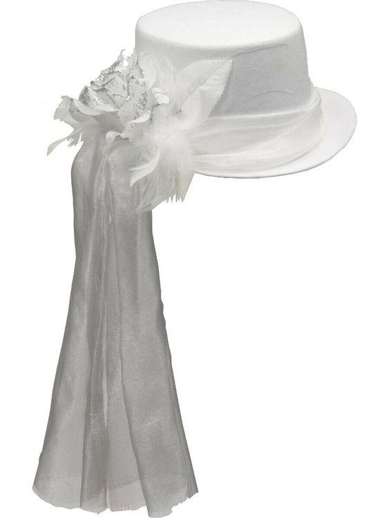 Vit hatt med rosett Maskerad