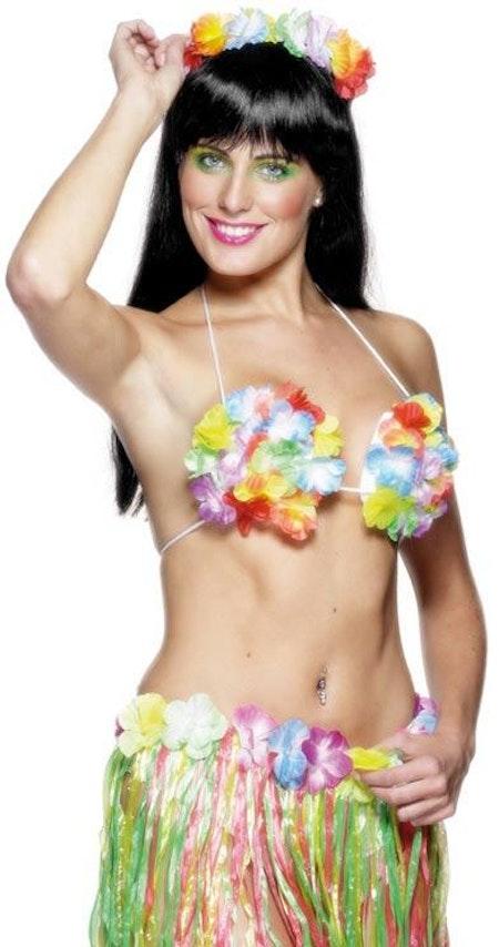 Blommig BH med snäckform Hawaii Maskerad