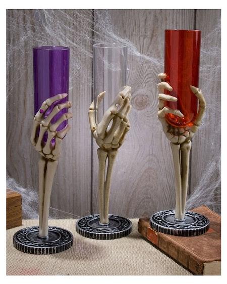 Champagneglas med skelett 3 olika färger