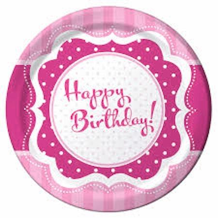 Happy Birthday Assiett / Tallrik 8-pack