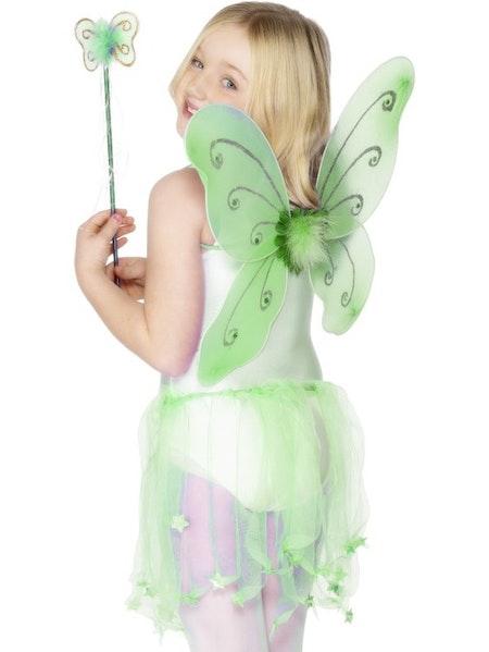 Fjärilsvingar med stav i 3 olika färger Rosa, Lila, Grön