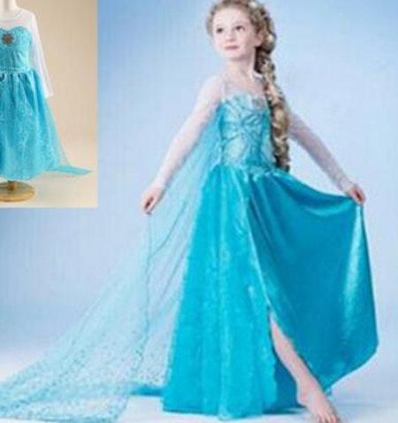 Elsa prinsess klänning med släp