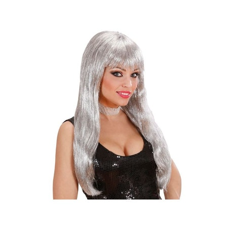 Glamour Silver Lång Peruk Maskerad