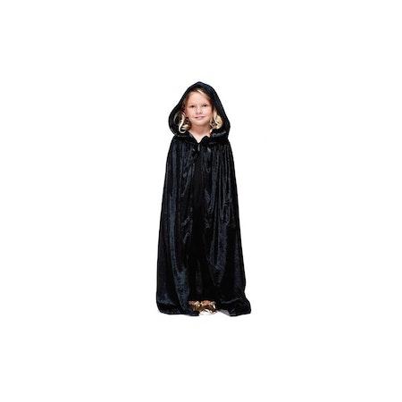 Svart Mantel Cape i Sammet Barn Maskeradkläder Halloween