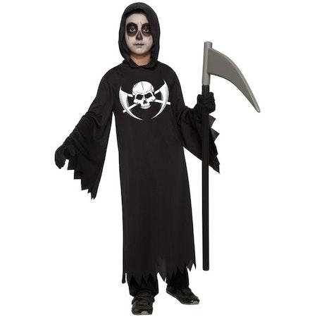 Screamdräkt Vålnaden med Skelettryck Maskeraddräkt Halloween Barn
