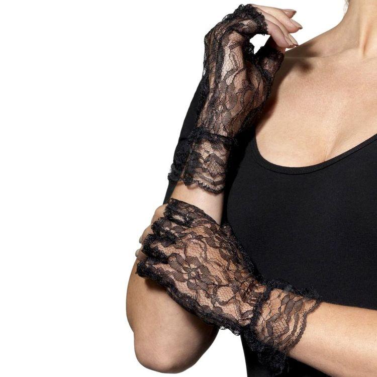 Svarta Spetshandskar Maskerad Halloween