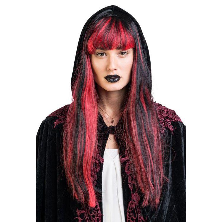 Svart Röd Lång Peruk Vampyria Maskerad Halloween