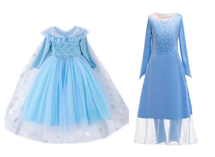 Blå prinsessklänning eller prinsessklänning 2 delad Maskeraddräkt