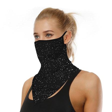 Munskydd Ansiktsscarf Bandanna Baklava Tvättbar Svart Glittrig
