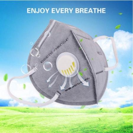 KN95 PM2.5 med Ventil Anti Virus Bacteria Proof med Näsklämma