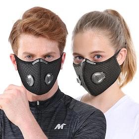 Ansiktsmask Med Kolfilter Dubbla Ventiler Och Näsklämma