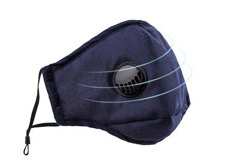 Tvättbart Ansiktsmask Munskydd med ventil Justerbara öronslingor och näsklämma 3-pack