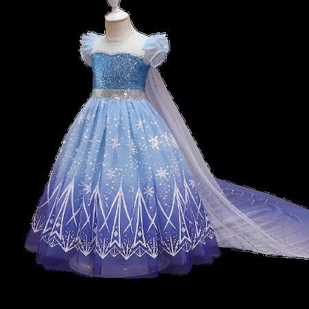 Elsa prinsess klänning med avtagbart släp i böljande blått