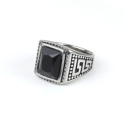 Black Stone Ring Lincon Silver