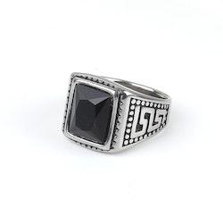 Black Stone Ring Lincon Silver