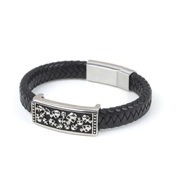 Black Bracelet Men Multi Skull