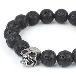Black Bracelet Men Skull Silver