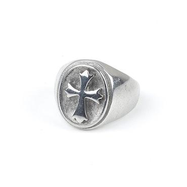 Men Cross Ring Silver