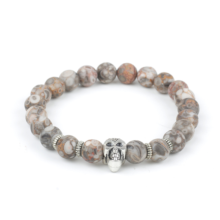 Silver Stone Skull Luke Bracelet
