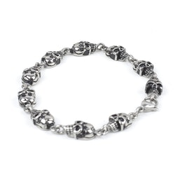 Multi Skull Men Bracelet Steel