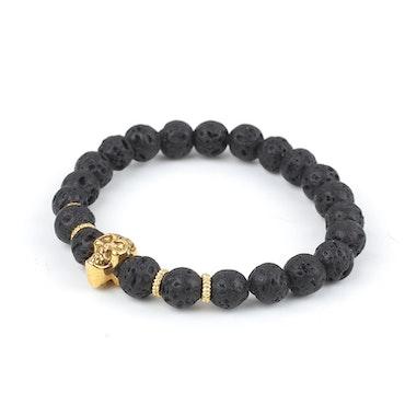 Gold Skull Black Bracelet