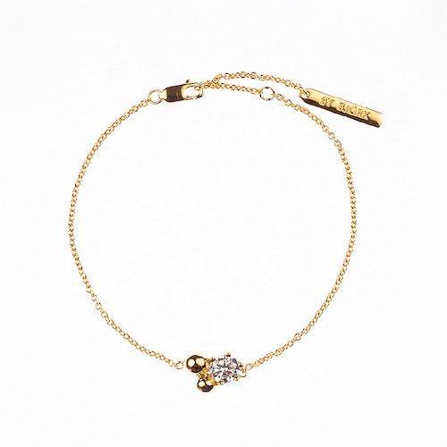 Armband med sten och guldförgyllda pärlor