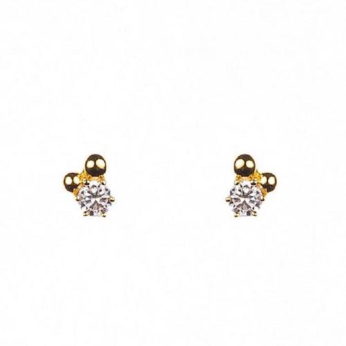Örhängen med sten och guldförgyllda pärlor