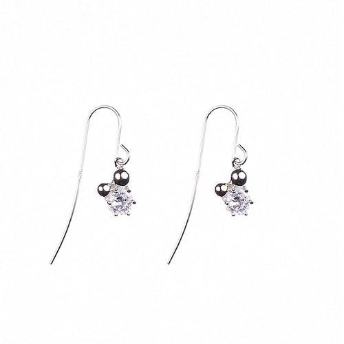 Hängande örhängen med sten och silverpärlor
