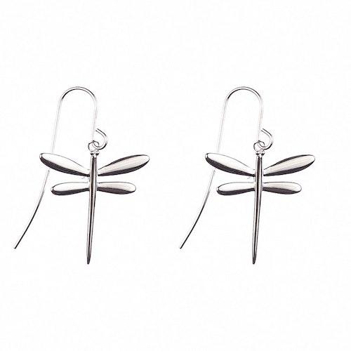Hängande örhängen med sländor i silver