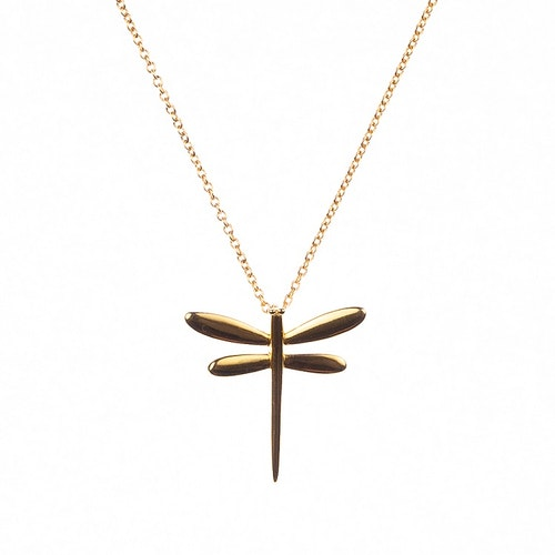 Halsband med slända i guldförgyllning
