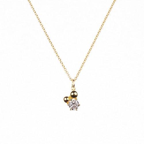 Halsband med sten och guldförgyllda pärlor