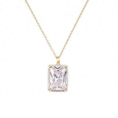 Halsband i guldförgyllning med stor sten