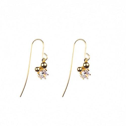 Hängande örhängen med sten och guldförgyllda pärlor