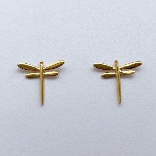 Örhängen med sländor i silver med plätering i guld