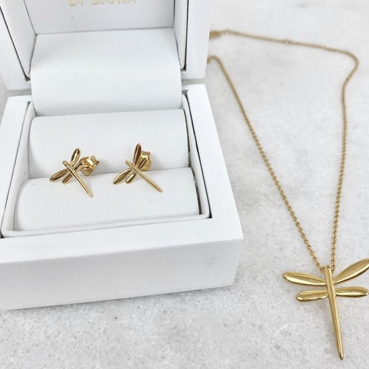 Örhängen med sländor i guld i unik design