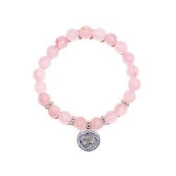 Rosenkvarts armband med Aum-symbol 8 mm pärlor