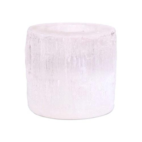 Selenit ljushållare rund 8 cm