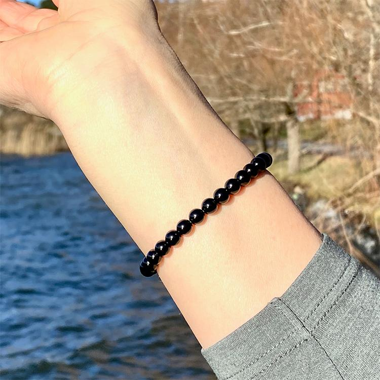 Svart Turmalin armband, 5 mm