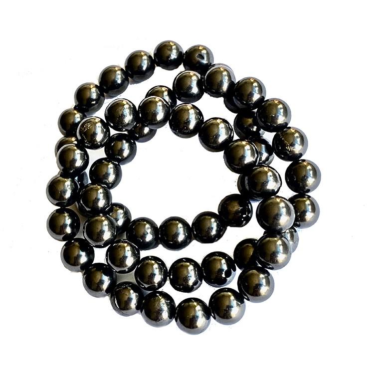 Shungit armband av 19 pärlor á 10 mm