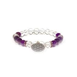 Bergkristall och Ametist armband med Livets Blomma