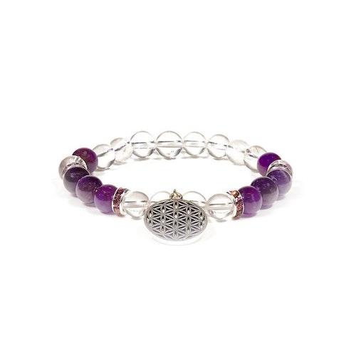 Armband Bergkristall och Ametist med Livets Blomma