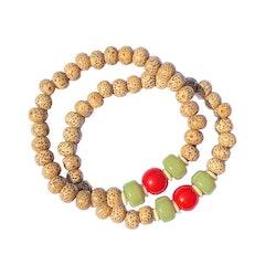 Armband med små pärlor av Lotus och Bodhiträ