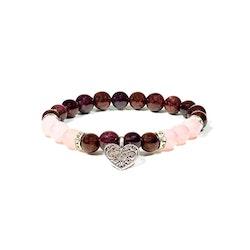 Armband Granat och Rosenkvarts med Hjärta