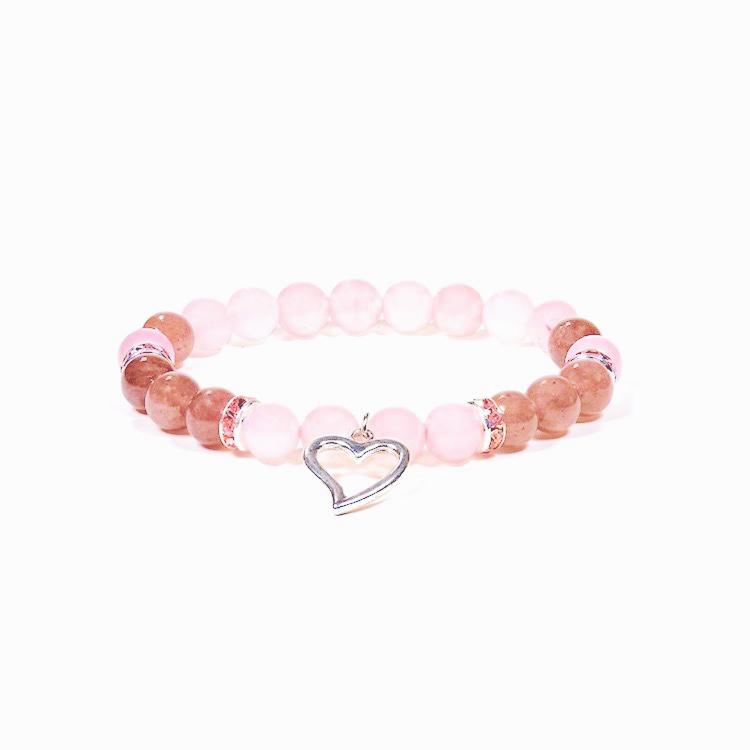 Rosenkvarts och Jordgubbskvarts armband med hjärta