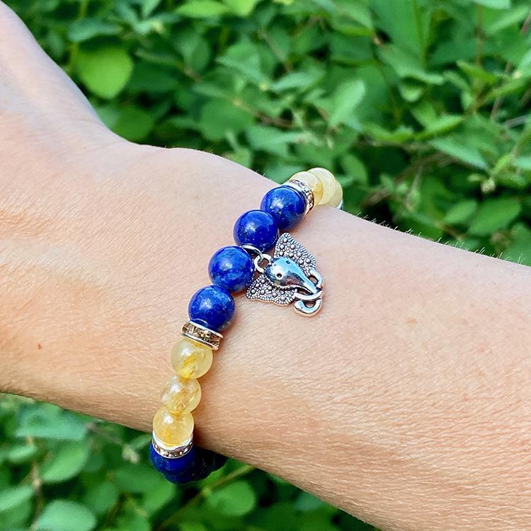 Armband Lapis Lazuli och Rutilkvarts med Ganeshhänge