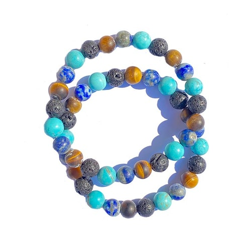 Armband Turkos, Tigeröga, Lapis lazuli och Lavapärlor