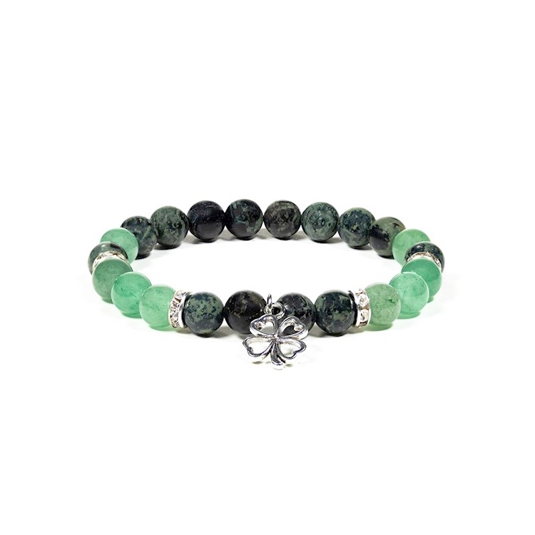 Jasper & Grön aventurin armband 8 mm pärlor