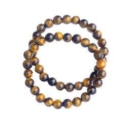 Tigeröga elastiskt armband av 8 mm pärlor